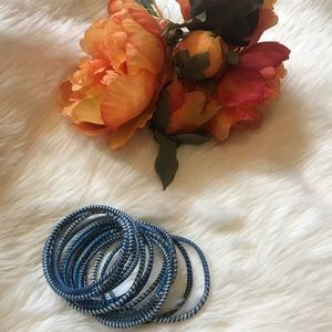 Jewelry - Blue Bangles made from recycled material